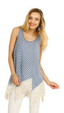 Striped Lace Trim Top, Blue