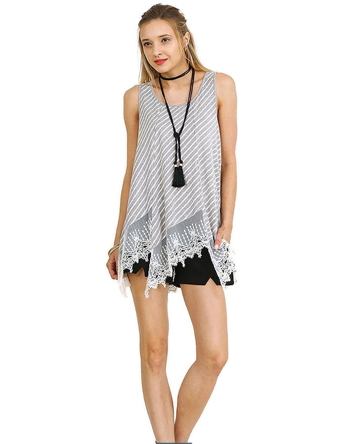 Striped Lace Trim Top, Grey