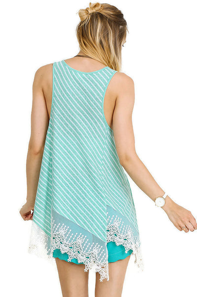 Striped Lace Trim Top, Mint