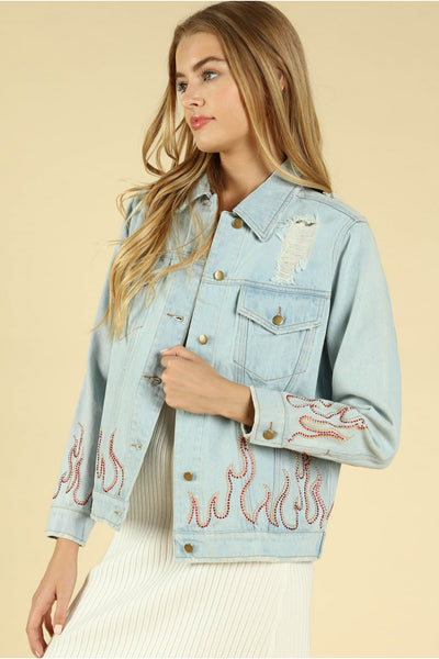 Some Like it Hot Distressed Denim Jacket, Denim
