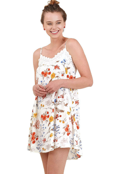 Floral Spaghetti Strap Dress, Cream