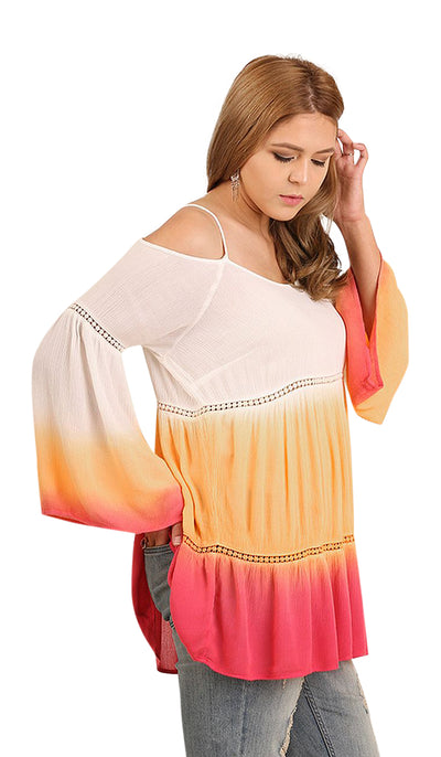 Ombre Off The Shoulder Bell Sleeve Tunic, Sunset