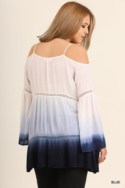 Ombre Off The Shoulder Bell Sleeve Tunic, Blue