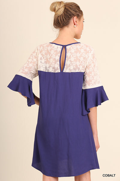 Lace and Keyhole Bell Sleeve Dress Cobalt