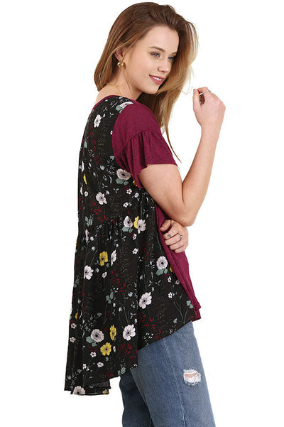 Floral Print Back Design Top, Berry Mix