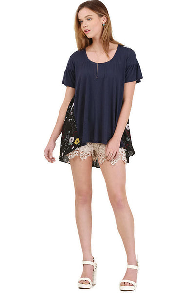 Floral Print Back Design Top, Navy Mix