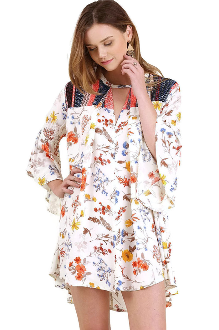 Floral Bell Sleeve Dress, Cream Mix