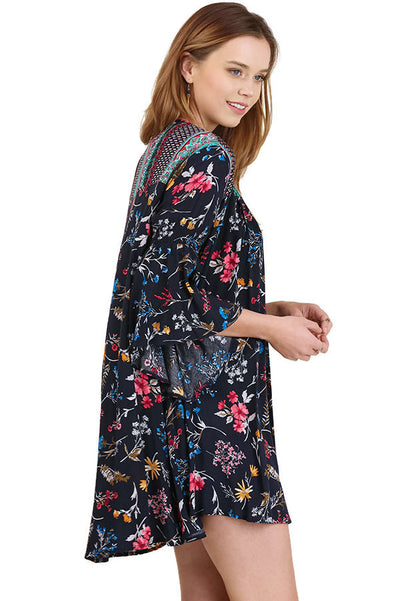 Floral Bell Sleeve Dress, Navy Mix
