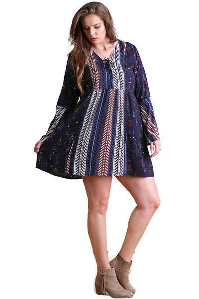 Lace-Up Twin Print Dress, Navy