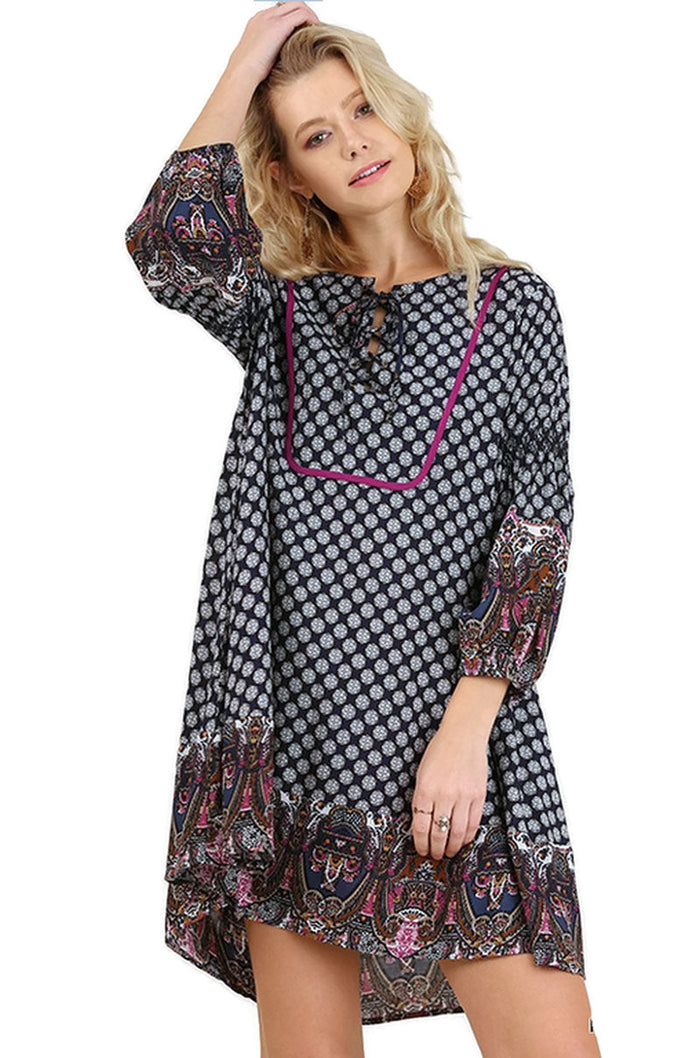 Lace Up Bishop Sleeve Border Dress, Navy