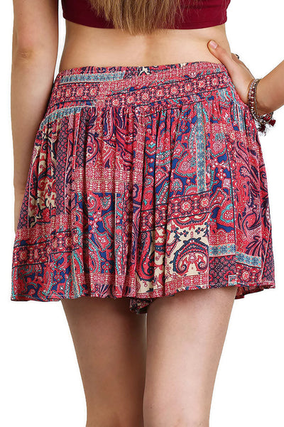 Bohemian Printed Shorts, Berry