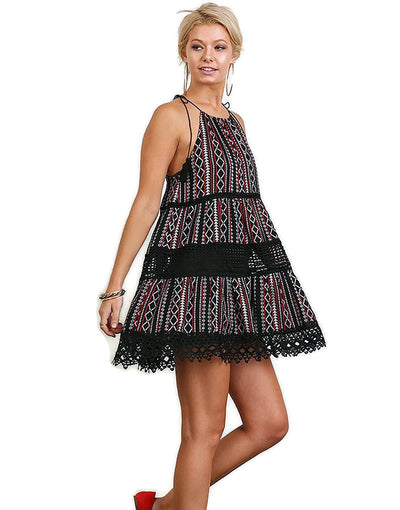 Halter Dress Cover up with Sheer Lace Panels, Black