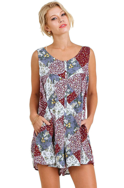 Patchwork Print Romper,  Berry
