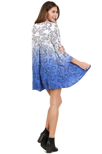 Floral Ombre Keyhole Dress, Periwinkle