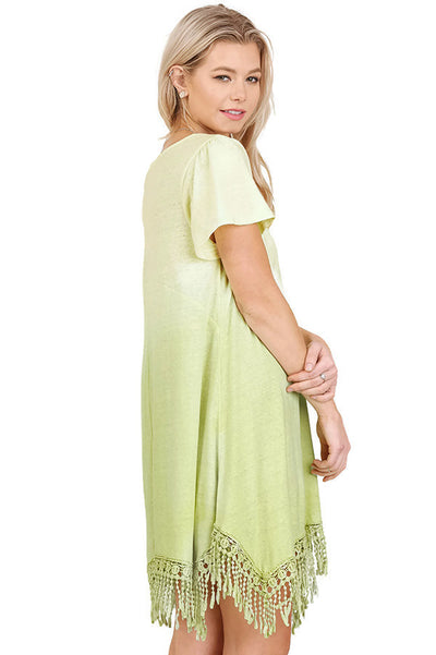 Trapeze Ombre Fringe Dress, Lemon
