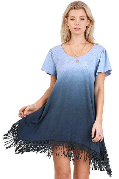 Trapeze Ombre Fringe Dress, Blue