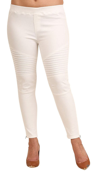 Washed Moto Jeggings, Off-White