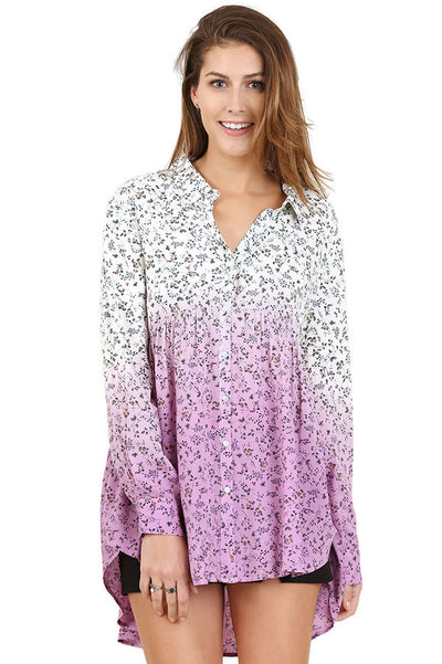 Ombre Floral Button up Tunic, Lilac