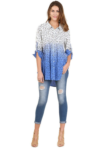 Ombre Floral Button up Tunic, Periwinkle