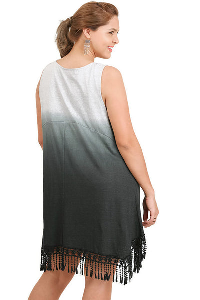Sleeveless Ombre Fringe Dress, Ash