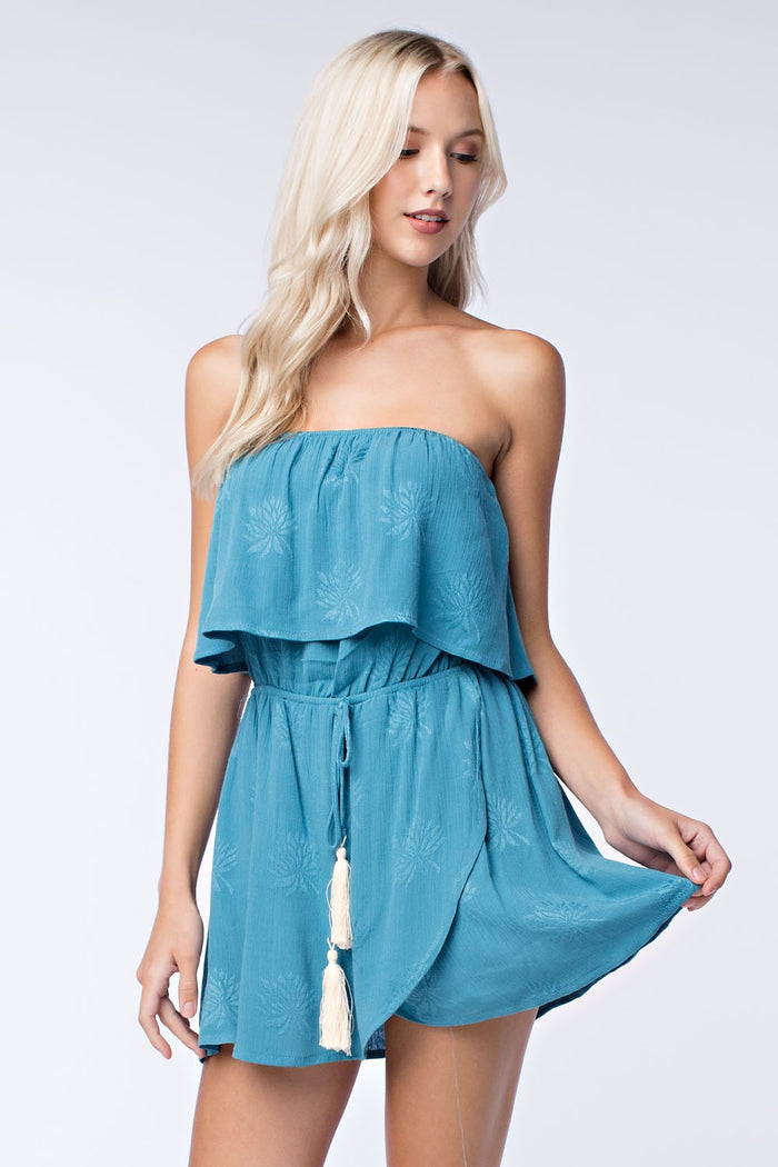 Strapless Two-Tier Wrap Dress, Seafoam
