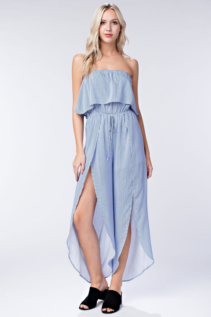All Aboard Striped Jumpsuit, Blue