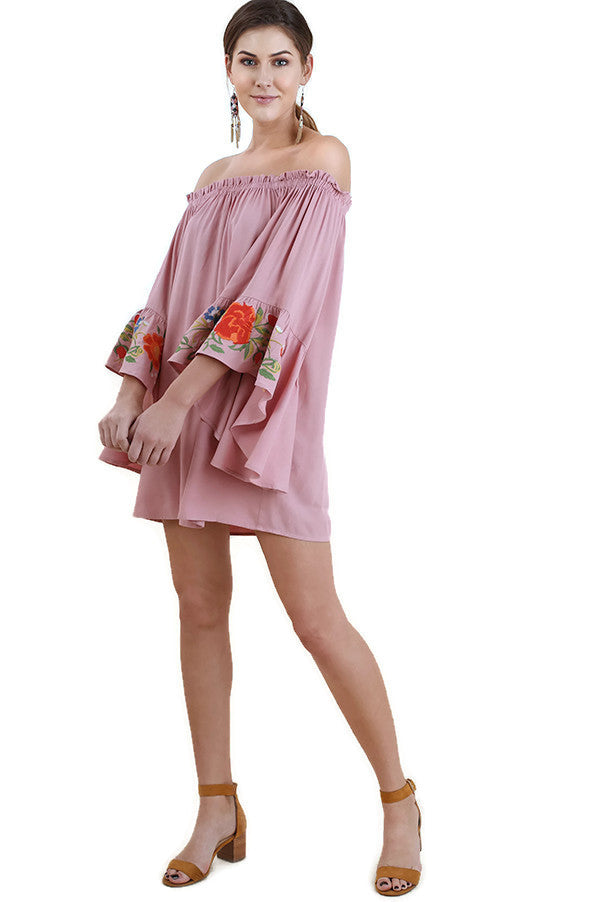Floral Embroidered Bell Sleeve Mini Dress, Dusty Pink