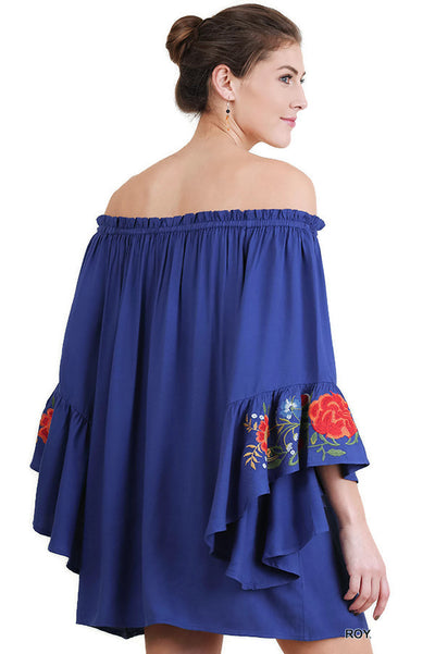 Floral Embroidered Bell Sleeve Mini Dress, Royal Blue