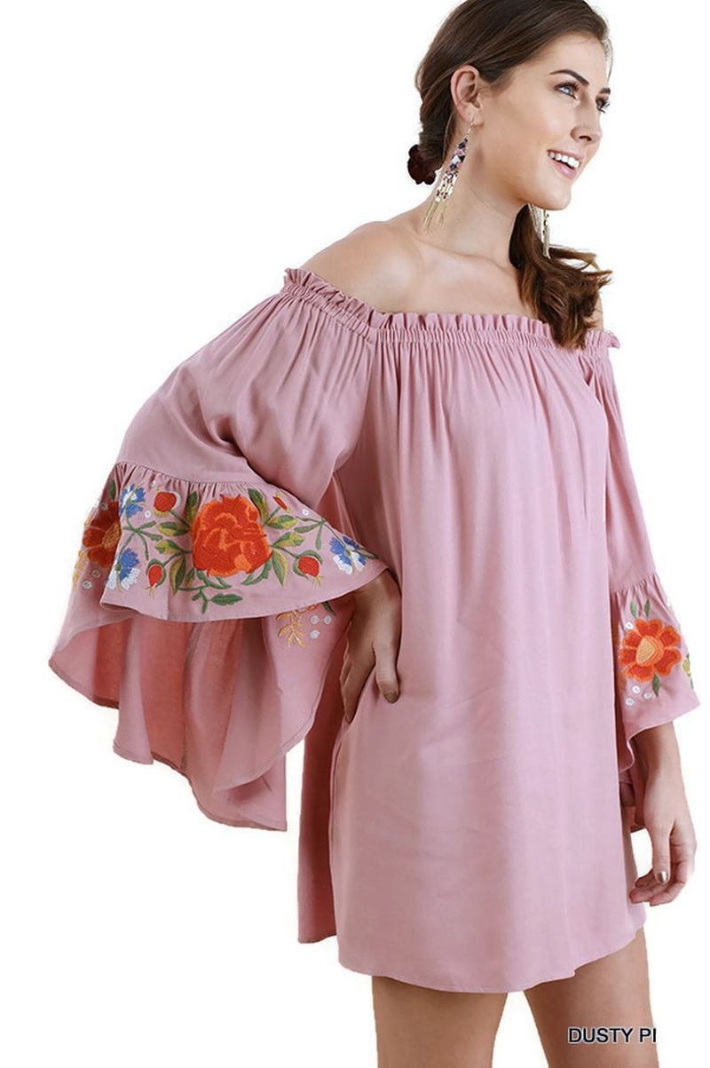 6082e35fb Floral Embroidered Bell Sleeve Mini Dress, Dusty Pink - Violet Skye ...