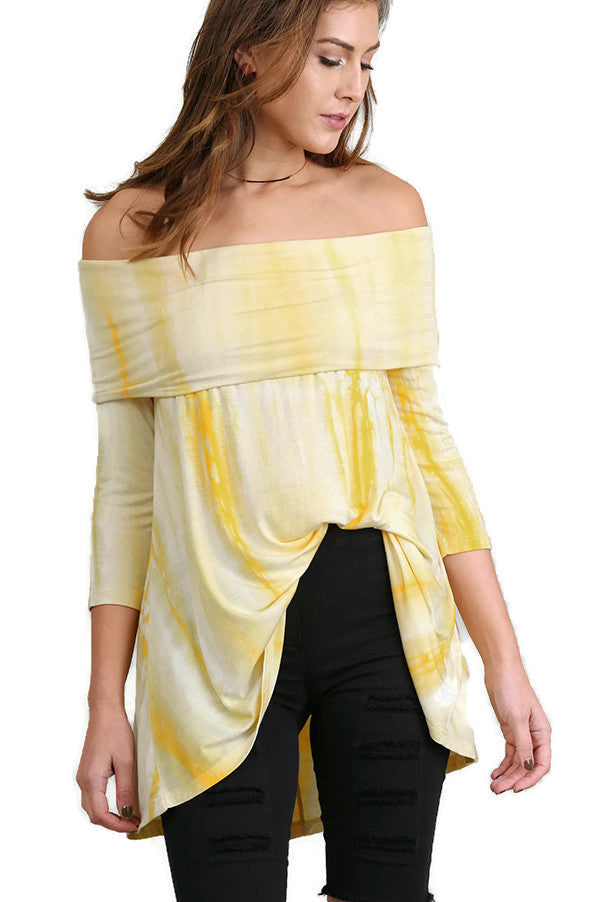 Fold Over Off The Shoulder Tie Dye Tunic, Lemon