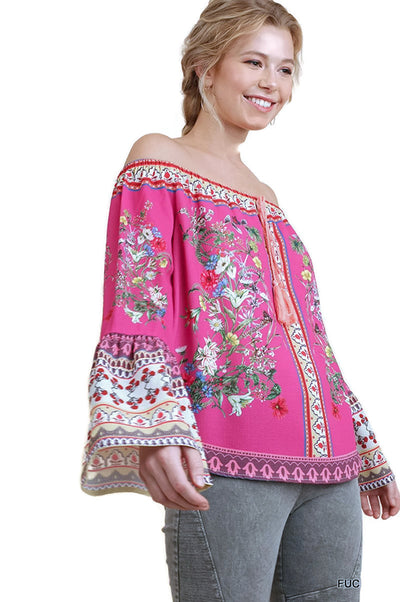 Floral Bell Sleeve Top, Fuchsia