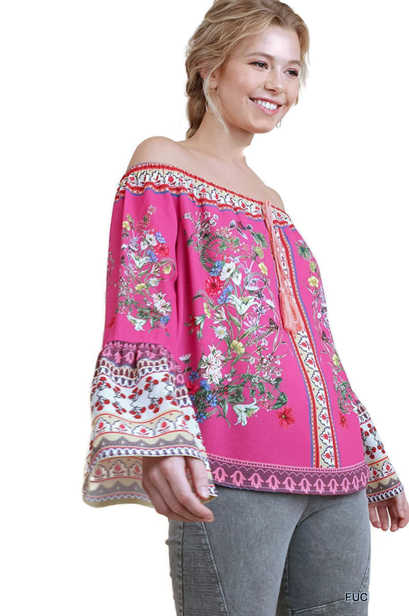 599cd924a019b4 Floral Bell Sleeve Top, Fuchsia - Violet Skye Boutique