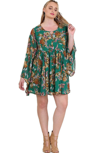 Floral Trumpet Sleeve A-line Dress, Green