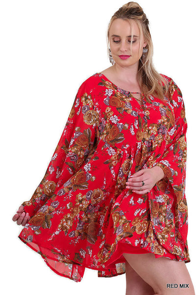 Floral Trumpet Sleeve A-line Dress, Red