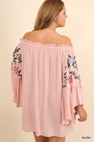 Off The Shoulder Floral Embroidered Mini Dress, Blush