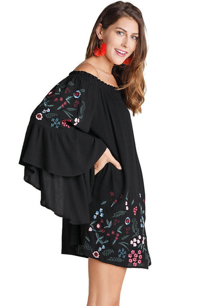 Off The Shoulder Floral Embroidered Mini Dress, Black
