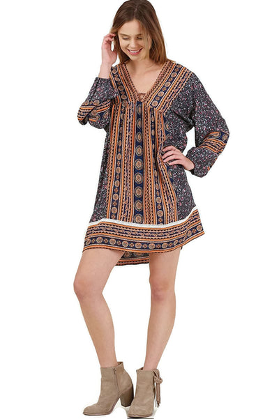 Retro Peasant Mini Dress, Charcoal Multi