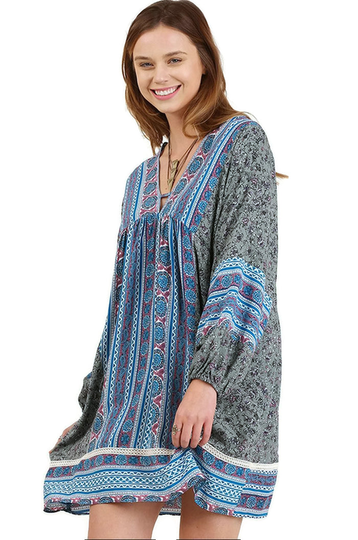 Border Print Peasant Mini Dress, Blue Multi