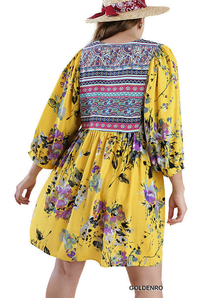 Floral Print Peasant Dress, Goldenrod