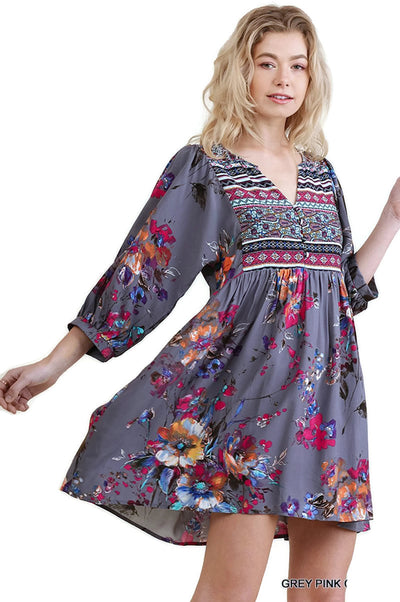 Floral Print Peasant Dress, Grey Pink Combo