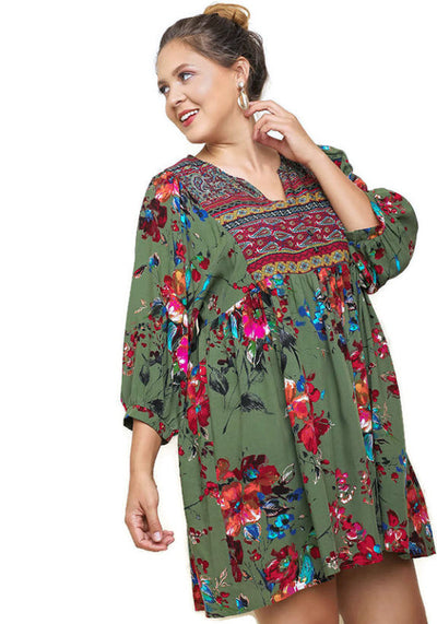 Floral Print Peasant Dress, Olive