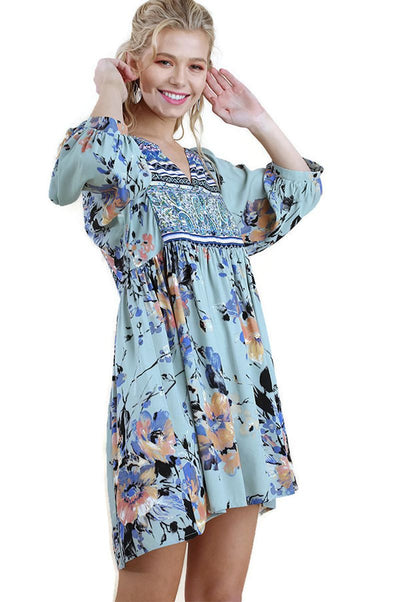 Floral Print Peasant Dress, Sage