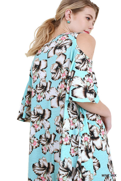 Floral Cold Shoulder Criss Cross Dress, Mint