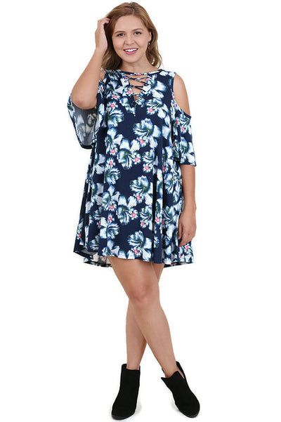 Floral Cold Shoulder Criss Cross Dress, Navy
