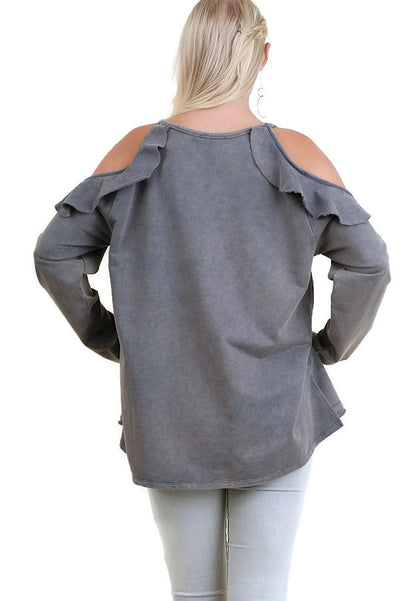 Ruffled Open Shoulder Garment Dyed Tunic, Blue Grey