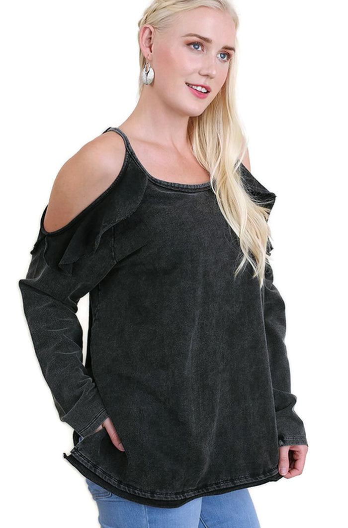 Ruffled Open Shoulder Tunic, Black