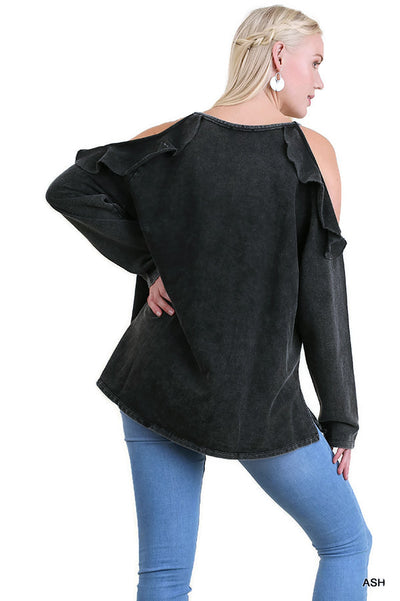 Ruffled Open Shoulder Tunic,  Ash