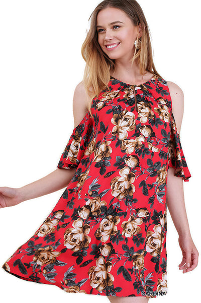 Floral Cold Shoulder Dress, Red