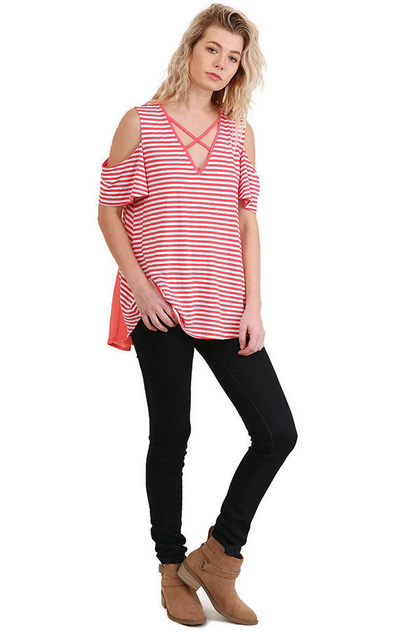 Cold Shoulder Striped Top, Coral