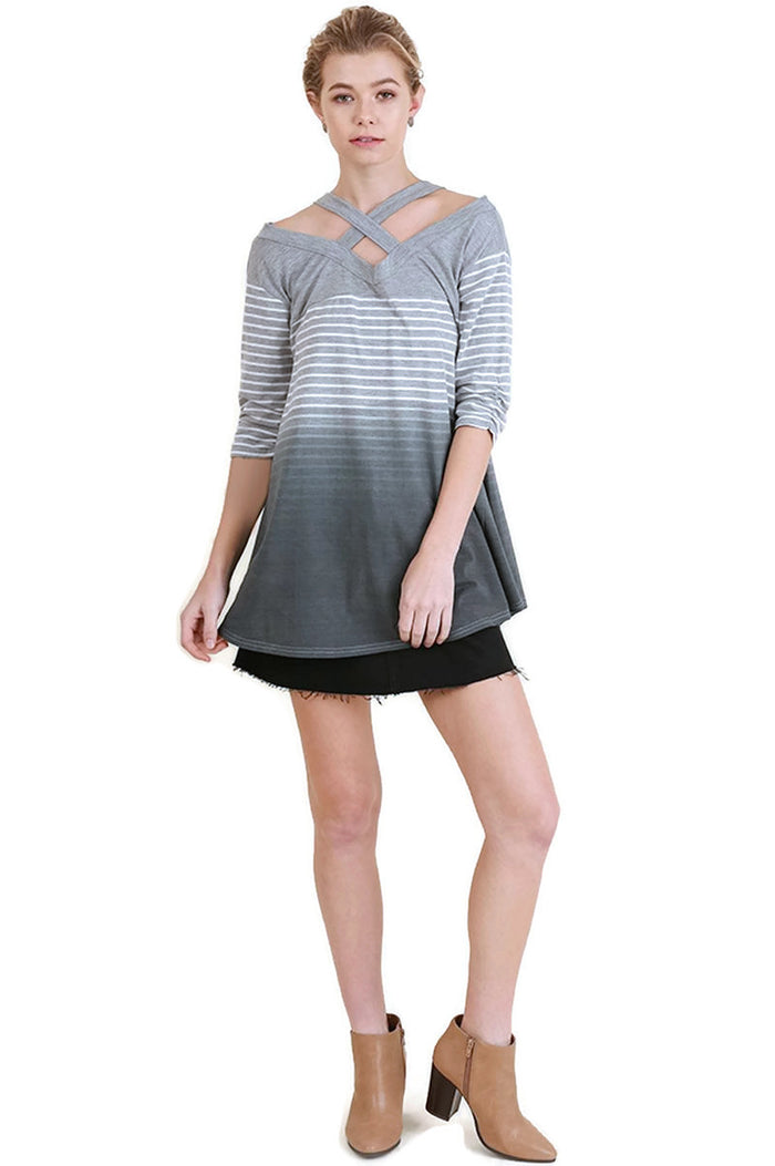 Washed Ombre Striped Tunic, Grey